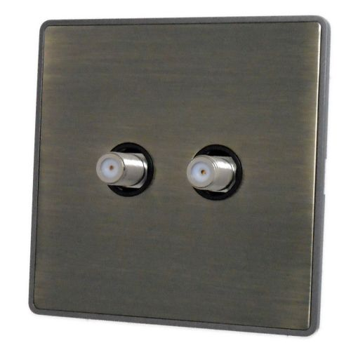 G&H LAB237 Screwless Antique Bronze 2 Gang Satellite Socket Point